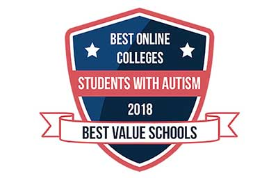 Badge for Best Online Colleges for Students with Autism 2018
